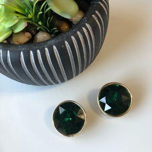 Vintage Faux Emerald Clip On Earrings